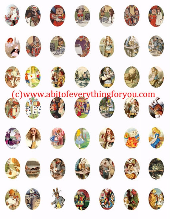 vintage alice in wonderland 18mm x 25mm ovals collage sheet clip art digital download graphics queen images craft printables pendants