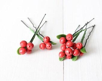 Small lingonberry hair pin Red Wedding hair pins Red Wedding hair clip Wedding hair berry Rustic wedding pin Cranberry hair pin