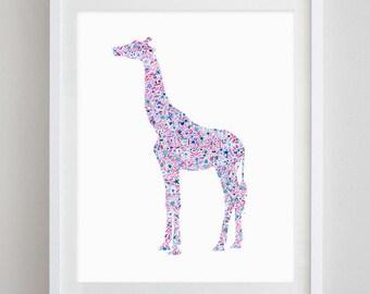Giraffe Floral Watercolor Art Print - Alpha Epsilon Phi