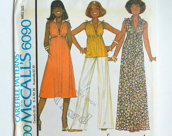 Vintage Sewing Pattern Women's 70's Uncut, McCall's 6090, Dress, Top (S)