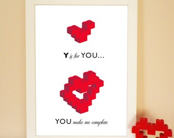 Lovers Building Block Heart Print