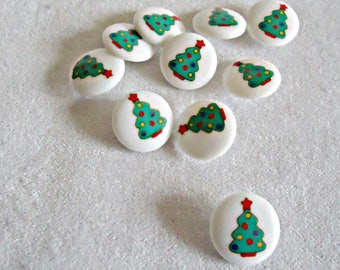 10 Vintage Acrylic Christmas Tree Buttons Sewing