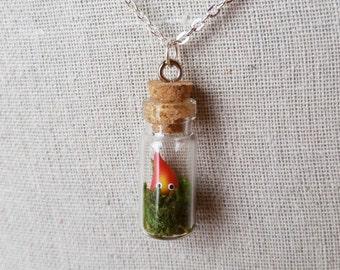 Howl's Moving Castle Calcifer Glass Bottle Charm Necklace, Miniature Terrarium Jewelry