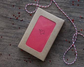 Heart Letterpress Mini Card | Set of 6