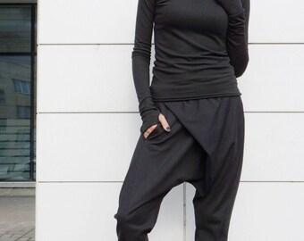 NEW Collection Loose Casual Black Drop Crotch Harem Pants / Extravagant Cotton Black Pants/Unisex pants / Side Pockets by AKASHA A05540