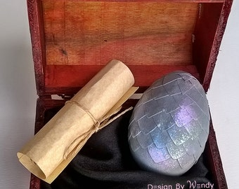 Morning Dew dragon egg, gray with iridescent purple, green & blue, in wooden box with dragon story. Size S