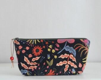 Folk Bird Zipper Pouch Gadget Case Cosmetics Bag - READY TO SHIP