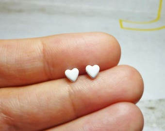 Tiny Lovely Heart Stud Earrings, Dainty Earrings