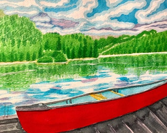 Red Canoe on the Lake