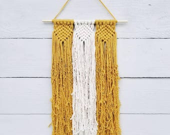 Custom Macrame Wall Hanging, Mustard Yellow Wall Hanging, Wall Decor, College Dorm Decorations, Southwestern Decor, Birthday Gifts for Women