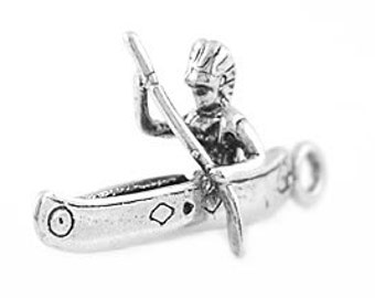 Sterling Silver Indian In a Canoe Charm (3d Charm)