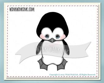 Digital stamp - Precious - baby penguin winter digi image
