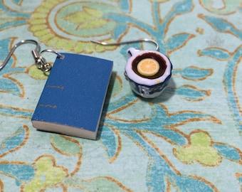 Tea and book earrings