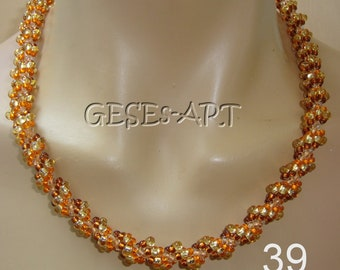 39 Spiral chain Orange topaz Gold