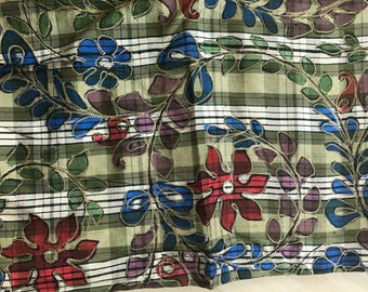 Olive & ivory plaid dupioni with floral design
