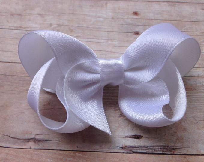 White satin hair bow - satin bows, hair bows, bows, hair clips, hair bows for girls, baby bows, toddler bows, satin hair bows, hairbows