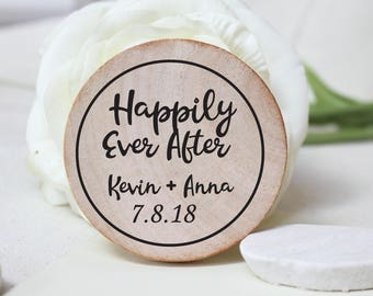 Wedding Favor Wood Magnets- Custom Save the date  made to order happyly ever after magnets rustic favours wedding favors