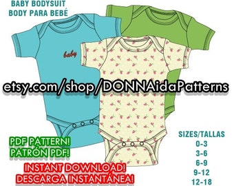 Baby bodysuit PDF pattern&español/english TUTORIAL instant download-sizes/tallas: 0 to 18 months/meses-Descarga Directa