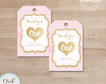 Pink and Gold ONE favor tags, Thank you Tags, Gift Favors, Chevron Party Decoration, Party Favors, Printable DIY, Instant download