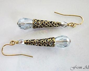 Blue Cone Drop Earrings, Victorian Earrings, Crystal Teardrop Earrings, Brass Cone & Crystal Dangles, Filigree Cone Dangles, Blue Crystals