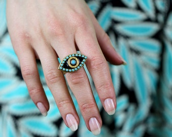Michal Golan Black and Turquoise Evil Eye Ring / Features 24K Gold Plating and Swarovski Crystals / Fully Adjustable / Handmade in NYC