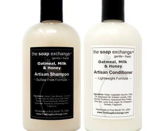 Shampoo & Conditioner 2 Piece Set, Natural Hair Care, All Hair Types, Sulfate Free, Paraben Free, Handmade, The Soap Exchange