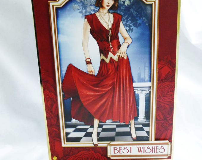 Art Deco Birthday Card, Greeting Card, Lady in Red Dress, Female, Any Age, Mother, Sister, Daughter, Niece, Aunt, Friend