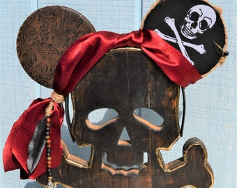 Pirates of the Caribbean Mickey Ears Accessories Hair Accessories Handmade Minnie Mouse Hedband Pirate Minnie Ears Pirate Mickey Ears