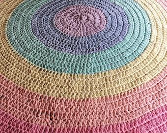 Rainbow rug - nursery rug - pastel rainbow - Tshirt yarn - Rainbow decor - colourful nursery - custom made to order