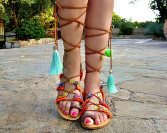 FREE SHIPPING Boho Gladiator Sandals / Leather Sandals / Colorful Sandals / Lace up handmade Sandals / Flat Greek Sandals / Womens Shoes
