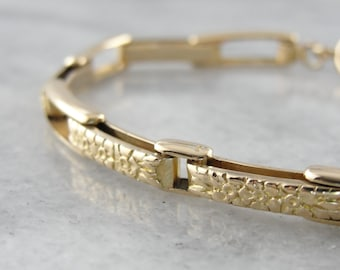 Vintage Floral Link Bracelet in Polished Yellow Gold 1Z1WZ3-R
