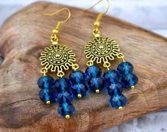Blue earrings, Gold earrings, Everyday earrings, Chandelier earrings, Dangle earrings, Bohemian jewellery, Gypsy earrings, Exotic earrings
