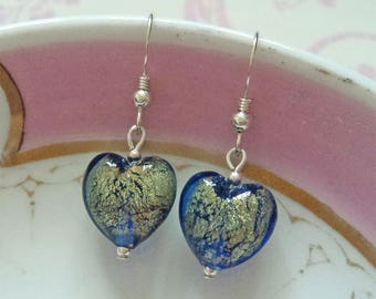 Diana Ingram blue with gold Murano glass small heart (13mm) drop earrings on silver or gold.