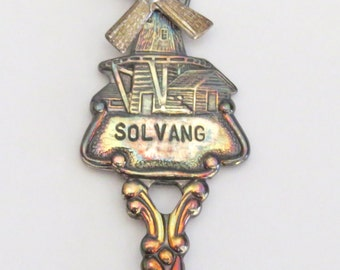 Moulin à vent collectionneur cuillère Solvang Vintage Hollande Souvenir de voyage en boîte