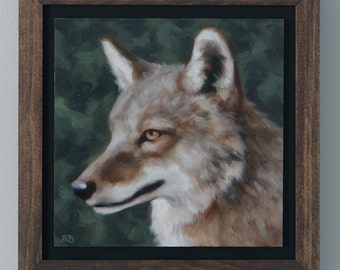 Coyote Painting Original Art Oil Painting Rustic Decor Framed Wall Art by Sarah Becktel