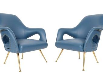 Pair of Italian Modern Mid Century Lounge Chairs in Blue Vinyl