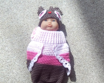 Owl, Sleep Sack, Cocoon,Shower Gift,Photos,Crocheted,Newborn,Girls,Infants,Hat,Babies,Light Pink,Rose,Brown