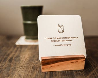 Letterpress Drinking Coasters–Set of 8