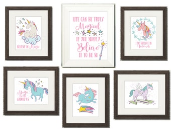 Magical Unicorn Art Bundle Pack - Includes 6 Prints for One Low Price!