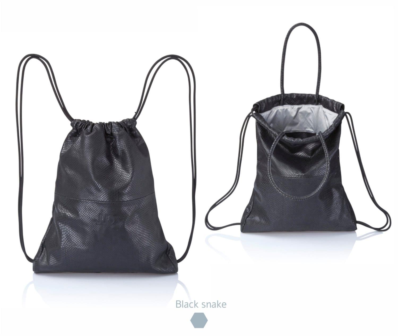 Black python leather backpack purse multi leather sackbag