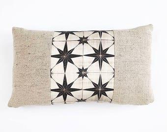 READY TO SHIP Belgian Linen And Moroccan Tile Print Linen Textile Lumbar Pillow Cover 12x20