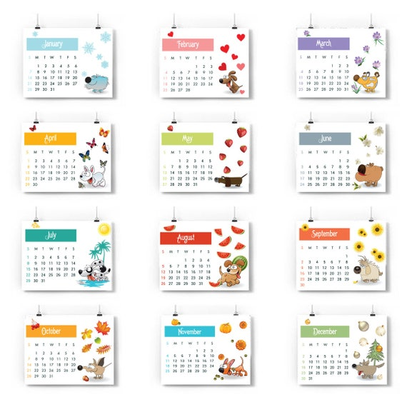 Weekly Calendar Cartoon : Printable calendar pages year of the dog chinese