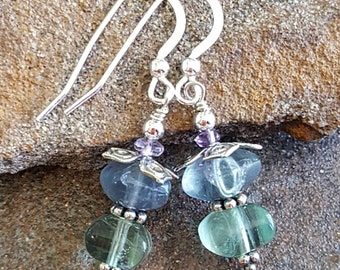 Flourite & Amethyst Gemstone Earrings, Natural Gemstone Jewelry, Sterling Silver, Womens Gift for Mom, Classic Earrings, Gift for Her