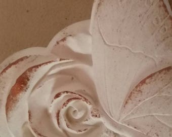 Romantic rose with butterfly in chalk powder