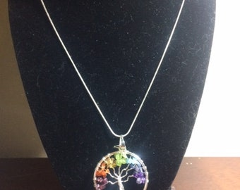Tree of Life Chakra Necklace on a Silver Chain