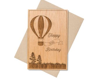 Hot Air Balloon Birthday Card. Milestone Birthday Gifts for Women, for Him, for Husband.