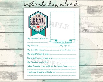 Father's Day Printable, All About Grandpa Questionnaire for kids, Cute Father's Day Gift for Grandpa from Kids, Grandpa Gift Printable
