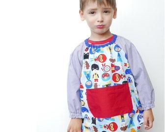 Baby School smock PDF Pattern 6m - 6 yrs:  school outfit, paint smock, kids apron, art smocks, school uniform, party smock, birthday smock
