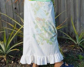 Full Length Vintage Curtain Turned Skirt with Yoga Waist and Ruffle