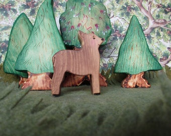 Wooden Deer Toy Waldorf Nature Table- Forest animal